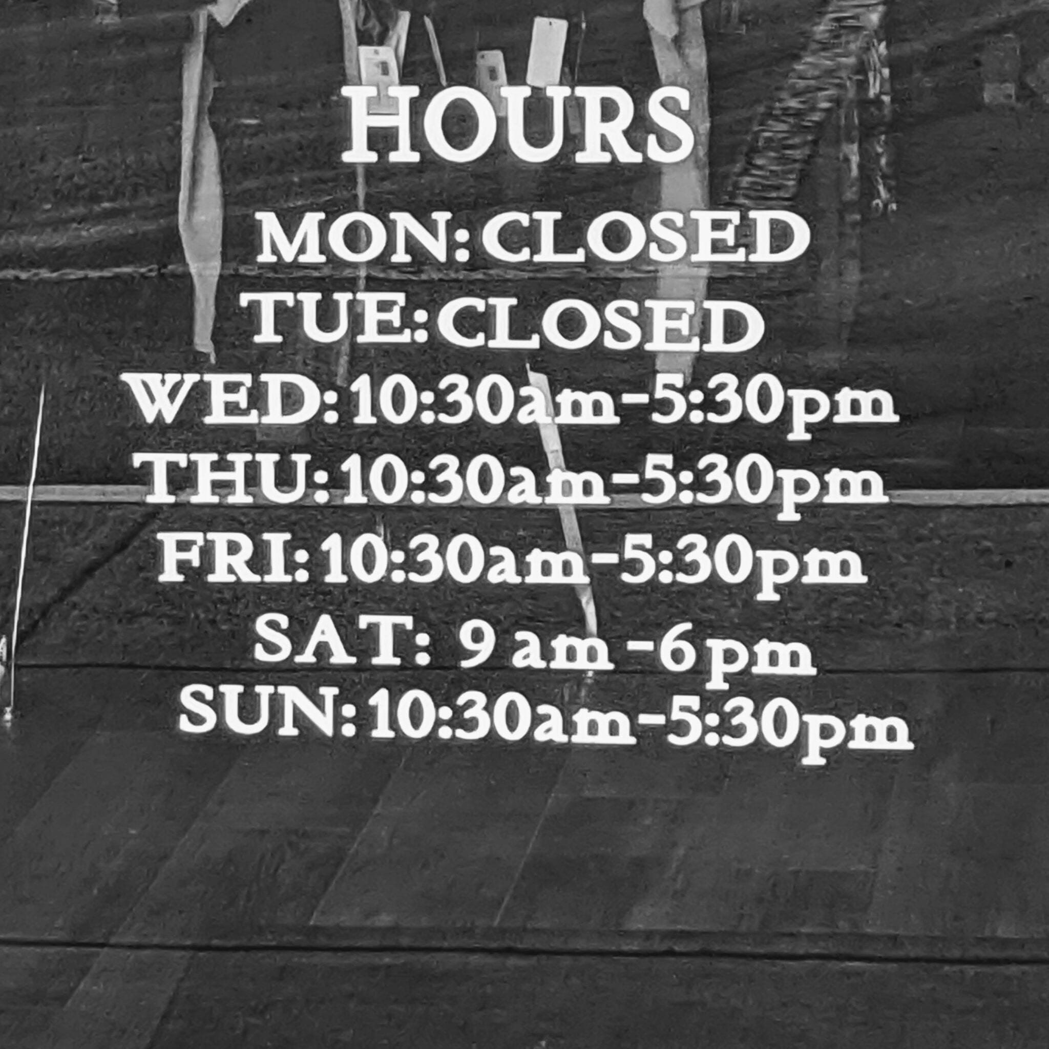 New Hours as of 9/27/2020